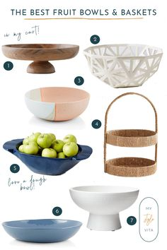 A roundup of the best wooden, stone and ceramic fruit bowls and baskets for your kitchen counters. #homedecor