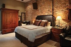 Brick wall bedroom design awesome 50 delightful and cozy bedrooms Tuscan Bedroom, Cozy Bedroom, Bedroom Decor, Wall Decor, Bedroom Ideas, Brick Wall Bedroom, Bedroom Wall Designs, Awesome Bedrooms, Beautiful Bedrooms