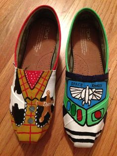 Custom Hand-Painted Toy Story Buzz Lightyear and Woody Toms Shoes (All Requests Accepted). $75.00, via Etsy. http://www.beautytomsshoes.com toms shoes,toms cheap,toms fashion,toms for women