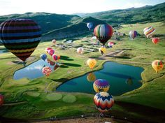many hot air balloons spread out over land.    Referenced by WHW1.com: Business Hosting - Affordable, Reliable, Fast, Easy, Advanced, and Complete.©