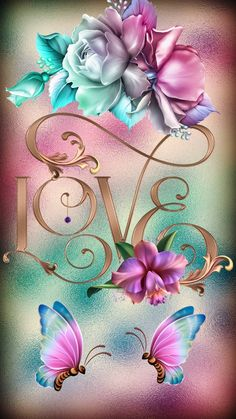 Love Wallpaper by Sixty_Days - af - Free on ZEDGE™ wallpaper heart Flower Background Wallpaper, Flower Phone Wallpaper, Butterfly Wallpaper, Heart Wallpaper, Butterfly Art, Cellphone Wallpaper, Colorful Wallpaper, Flower Art, Butterflies