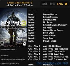 TrainersBaZZa (lexluthor123) on Pinterest Sniper Ghost Warrior 3 Trainer v1.04 and Cheats for PC Warrior 3, Mac