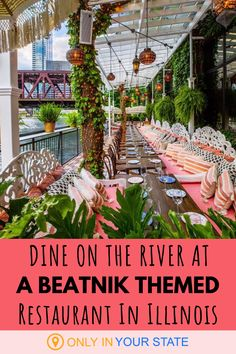 This quirky waterfront restaurant in Chicago is both unique and charming. It makes for a great date night or day out with the girls. Enjoy good food, fantastic beatnik style decor, and more. Bohemian Restaurant, River Restaurant, Waterfront Restaurant, Chicago Bars, Chicago Loop, Chicago River, Vacation List, Vacation Rentals, Boho Chic Interior