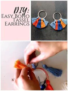 Simple DIY boho earrings with tassels. Learn to make your own tassel earrings with these hippie project videos. Diy Jewelry To Sell, Diy Jewelry Making, Jewelry Crafts, Diy Crafts Earrings, Diy Jewelry Videos, Diy Tassel Earrings, Earrings Handmade, Handmade Jewelry, Diy Earrings Simple