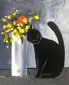 """MY CAT ART - zambayes -blackcoffeecinnamon:wasbella102:ATELIER DE JIEL - """"Black cat and his flowers JIEL (Atelier de Jiel)"""