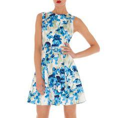 Elegant Printing Flower Round Collar Tight Waist Sleeveless Dress