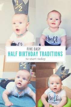 Easy, fun & cheap half birthday traditions to start today! Six months old or six and a half, fun half birthday celebrations for the whole family that can be started at any time! Half Birthday Baby, Half Birthday Cakes, Baby Birthday, Boy Birthday Pictures, Birthday Themes For Boys, Birthday Ideas, Baby Pictures, Birthday Traditions, Birthday Celebrations