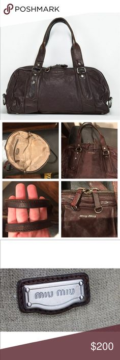 Miu Miu by Prada distressed leather brown handbag 100% Authentic! Dark brown/chocolate leather medium size handbag. Silver tone accents. 8' height 3' width 13.5' length 6.5' strap drop. In good condition some scruffs and stains on the inside. No holes or odors, strap and zip in good condition. Miu Miu Bags