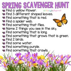 Scavenger hunts are great activities. Here is an idea for a spring scavenger hun., , Scavenger hunts are great activities. Here is an idea for a spring scavenger hunt, by clicking on the link, you can see tons of other themed hunts! Spring Activities, Toddler Activities, Learning Activities, Preschool Activities, Outdoor Activities, Family Activities, Preschool Prep, Preschool Worksheets, Therapy Activities