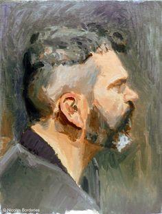 Monsieur D de profil, oil on board, 35 x 27 cm, 2014.