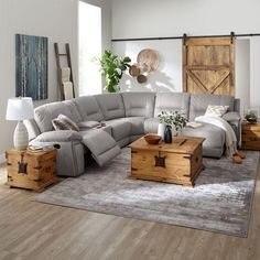 Pasadena Reclining Sectional with Right-Facing Chaise – Light Grey – Sofa Design 2020 Sectional Sofa With Recliner, Living Room Sectional, Living Room Grey, Small Living Rooms, Living Room Furniture, Living Room Designs, Home Furniture, Small Sectional, Coffee Table With Sectional