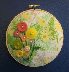 I love this! Vintage sheet and Buttons! via beyourownadventure