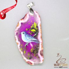 CREATIVE NECKLACE HAND PAINTED BIRD GEMSTONE PENDANT BEAEDS ZL8009944 #ZL #Pendant