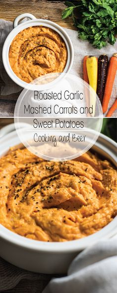 Roasted garlic mashed sweet potatoes and carrots is the perfect side dish to serve this fall. It has a slight sweetness that is counteracted by garlic! Easy Vegetable Side Dishes, Best Side Dishes, Vegetable Sides, Vegetable Recipes, Beer Recipes, Side Dish Recipes, Potato Recipes, Easy Recipes, Healthy Recipes