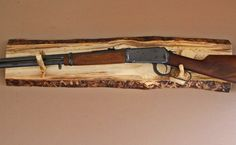 Long Gun Display Rack- A-98 Aspen Backing with pine rests .  Fits Lever action and Muzzle-loaders Wall mount.