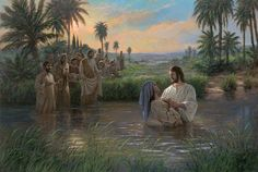 Awaiting The Command by Jon McNaughton New Testament, Jesus, Promised Messiah, Jordan River, baptism Pictures Of Jesus Christ, Bible Pictures, Catholic Pictures, Who Is Jesus, Jesus Is Lord, Jon Mcnaughton, Biblia Online, Lds Art, Litho Print