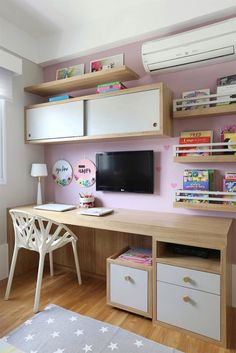 Top Beautiful Teen Room Decor For Girls Study Room Decor, Teen Room Decor, Room Decor Bedroom, Home Office Design, Home Office Decor, Home Decor, New Room, Girl Room, Pink Decorations