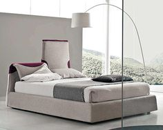 Innovative Functional Italian Contemporary Bed with Flex Headboard - Paciugo by Bolzan Beds