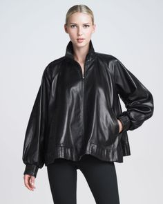 Zip Front Leather Poncho Jacket - Lyst