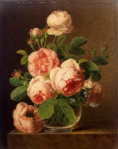"Jan Frans Van Dael (1764-1840) Still Life Of Roses In A Glass Vase Oil on panel  46.5 x 37 cm (18¼"" x 14½"") Private collection"