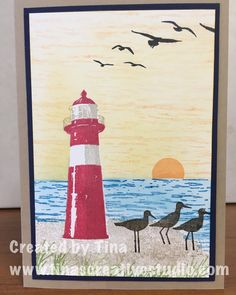 Third card I created using the High Tide stamp set from Stampin Up. A good set for creating peaceful scenes. #cardmakingclass #stampinup #stamping #handmadecards #tinascreativestudio