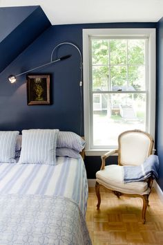 wall color; eclectic bedroom by Landing Design & Development