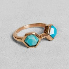 Petit Sesame | Ip gold rose icemint ring | Designed by Petit sesame | 8.00€ | Rose gold ip coated stainless steel ring set with a turquoise gem and a natural blue agate gem