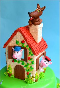 Big bad wolf and 3 Little pigs cake