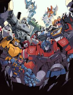 """Hang On by ~ai-eye on deviantART    type:  """"If you're not moved by all the transformers helping you up  you are dead or not an 80's kid."""""""