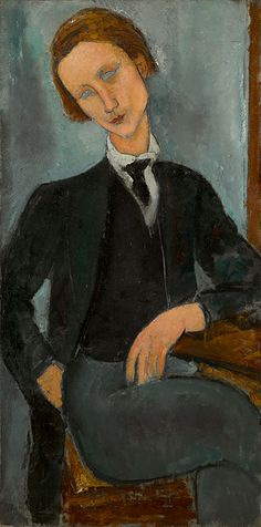 Amedeo Modigliani, Portrait de Baranowski, 1918. Est £10,000,000-15,000,000. Modigliani, most celebrated portrait artist of the 20th century to be based in Paris. Portrait de Baranowski, depicting a young man with fragile good looks & a pensive, introspective air, is a wonderfully elegant composition that powerfully synthesises all the elements of Modigliani's portraits in this period – from geometric simplification of stylised human form to almond, vacant eyes that render sitter…