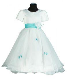 PC678 Kommunionkleid Weiss-türkis Gr.104-170 - Abendkleider von Susanne Samtlebe®, Goslar