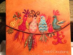 Gossiping Birds FREE Pattern!!.. this is done with decorative paper, there are also examples on mirrors and totes! the ideas are limitless.. they would look cute painted on a shower curtain or curtains in a kitchen!