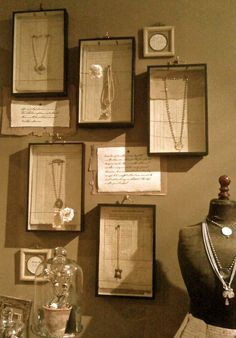 Old book pages as the backdrop to vintage inspired jewelry - craft show display idea