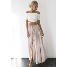 Against The Tides Maxi Skirt Nude ($59) ❤ liked on Polyvore featuring lace up crop top, embellished tops, off the shoulder tops, short sleeve tops and cut-out tops