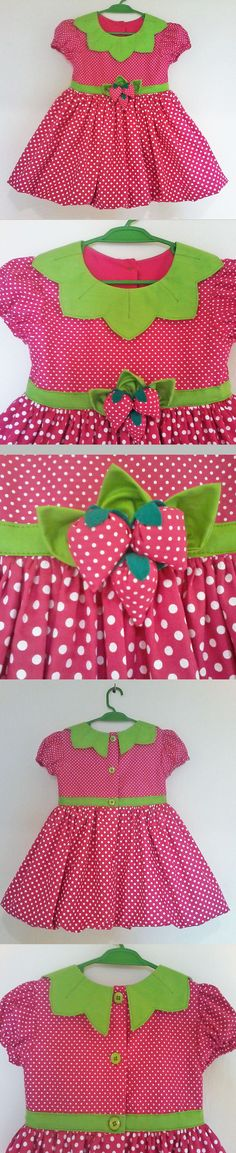 Vestido Moranguinho-- -- Strawberry Shortcake Dress -- --  baby - infant - toddler - kids - clothes for girls - Moldes Gratuitos - Free Patterns  -----------------------------------------------------Molde grátis  em https://www.facebook.com/groups/1594730384185604/