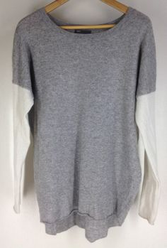 $99 Vince Colorblock Cashmere Crew Neck Sweater Size XS Steel Pearl 295 Orig
