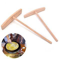 2 Pcs Crepe Maker Pancake Batter Wooden Spreader Stick Home Kitchen Tool Kit Diy Use 2 Sizes...