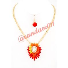 "Red-Orange-Yellow Crystal Necklace Set ✳️Bundle to save 15%!✳️ Length: 18"" Adjustable Gold color hardware Lobster claw closer Comes with matching red Earrings Boutique  Jewelry Necklaces"