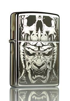 Japanese Oni Demon High Polish Chrome Zippo Lighter