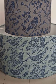 tuvi tussock lampshades printed with a patterned paint rollers