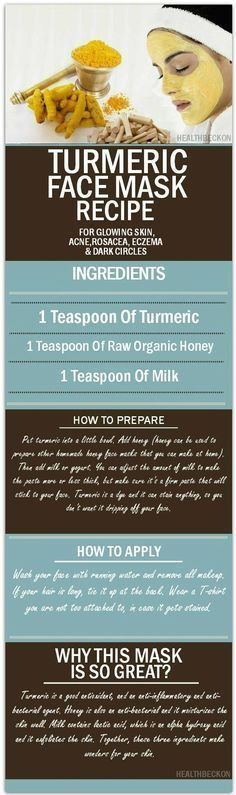 DIY Skin Care Tips : Turmeric Face Mask Recipe for Glowing Skin, Acne, Rosacea, Eczema and Dark Circles - 15 Ultimate Clear Skin Tips, Tricks and DIYs Beauty Care, Beauty Skin, Beauty Hacks, Diy Beauty, Face Beauty, Beauty Dust, Women's Beauty, Beauty Advice, Beauty Trends