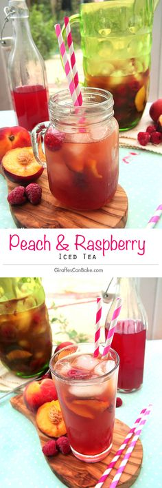 Peach and Raspberry Iced Tea - Peach Raspberry Iced Tea by Giraffes Can Bake - refreshing iced tea made with green tea and sweetened with homemade peach and raspberry syrup the perfect summer drink Raspberry Iced Tea, Raspberry Syrup, Raspberry Lemonade, Fruit Drinks, Smoothie Drinks, Smoothies, Alcoholic Desserts, Fun Fruit, Detox Drinks