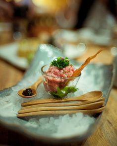 Tuna Tartar, caviar and quails egg yolk