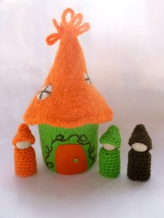 Felted Gnome Home  An adorable felted wool home for your gnomes. Gnome home has been knit from wool yarn and then felted, roof comes off. Inside