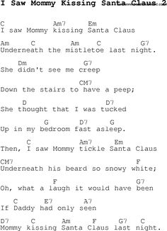 Christmas Songs and Carols, lyrics with chords for guitar banjo for I Saw Mommy Kissing Santa Claus 2
