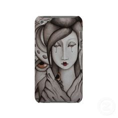 Umbrella Eyes iPod cover.From my original painting ink and watercolor on paper. By SimonaMereuArt