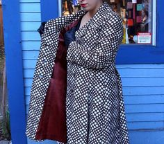 Mod Double Breasted Abstract Polka Dot Fall Coat with Burgundy Lining // KaleidoscopeCult Vintage 60s Mod, Double Breasted, Vintage Outfits, Wrap Dress, Raincoat, Burgundy, Polka Dots, Dresses For Work, Abstract