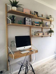Ikea Svalna's shelf system - Ikea DIY - The best IKEA hacks all in one place Office Interior Design, Home Office Decor, Svalnäs Ikea, Ikea Desk, Ikea Linnmon, Desk In Living Room, Ikea Shelves, Shelf Desk, New Room