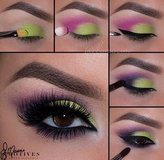 Green And Pink Eyeshadow Pictorial! Green And Pink Eyeshadow Pictorial! - Das schönste Make-up Sexy Eye Makeup, Eye Makeup Steps, Makeup For Green Eyes, Gorgeous Makeup, Love Makeup, Makeup Inspo, Beauty Makeup, Hair Makeup, Prom Makeup