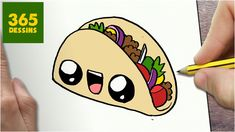 Learn to draw super cute taco Cute Food Drawings, Cute Little Drawings, Cute Kawaii Drawings, Cartoon Drawings, Dog Kawaii, Kawaii Art, Kawaii Nails, Kawaii Room, Sketches
